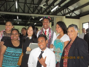 Gabby with his leis, ties and candy crown,  joined by friends in Tamavua 2nd ward.