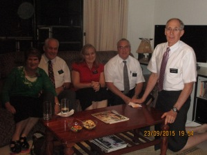 Elder and Sister Smith and the Knights with Elder Whitehead after we had dinner in our flat.