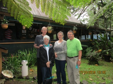 At the Rainforest restaurant with Linda and Greg Christensen, just before our hike