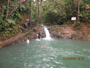 At the last waterfall  we watched kids having a blast swinging out on a  rope and diving into the pool.  What a paradise!