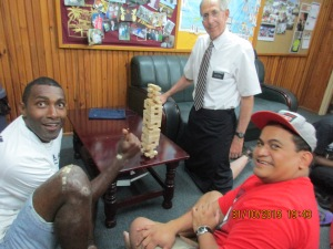 Mele and David's only goal in playing Jenga is to beat Elder Whitehead at another game -- they love to tease!