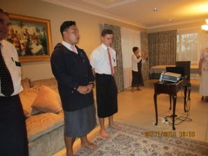 Elder Boyack and Elder T. teaching us the mission song