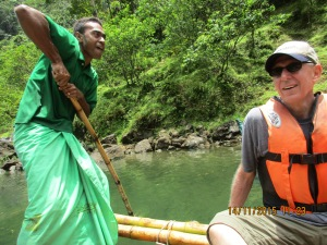 Travelling part way on a bamboo raft was peaceful, but sure helped us appreciate our motor boat.